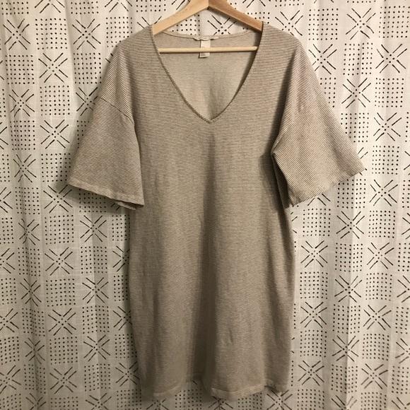 7556c9a8d3 H&M Dresses | Hm Cream Striped Tshirt Dress | Poshmark